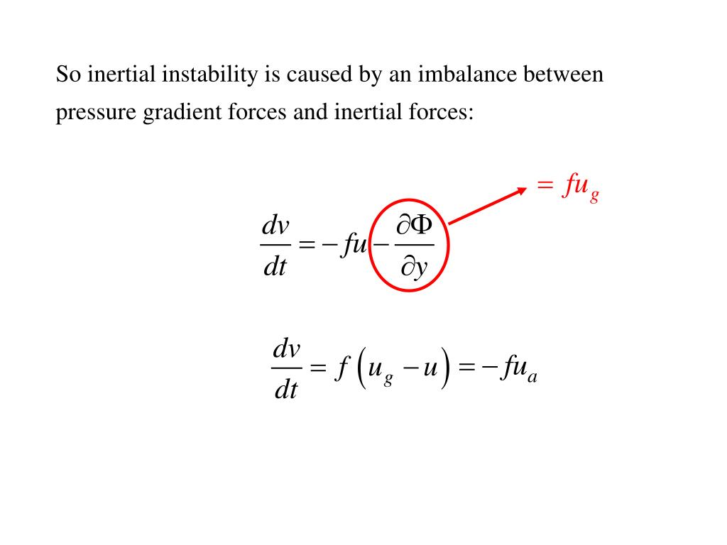 So inertial instability is caused by an imbalance between