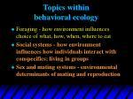 topics within behavioral ecology
