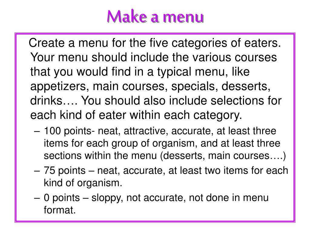 Make a menu