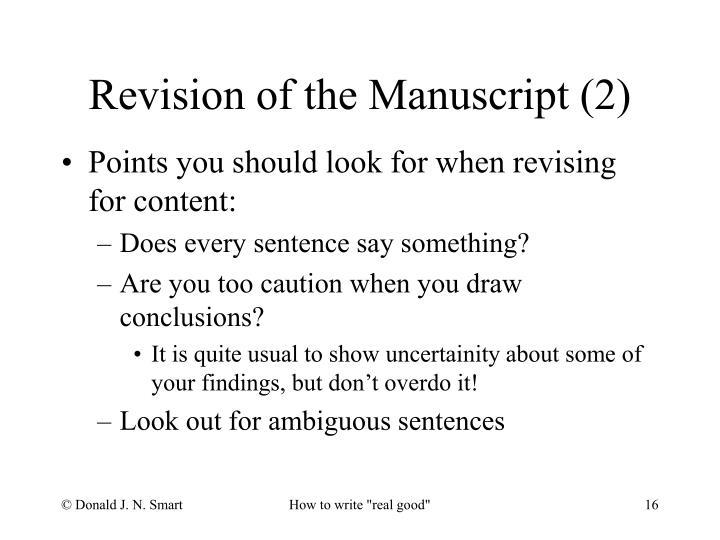 Revision of the Manuscript (2)