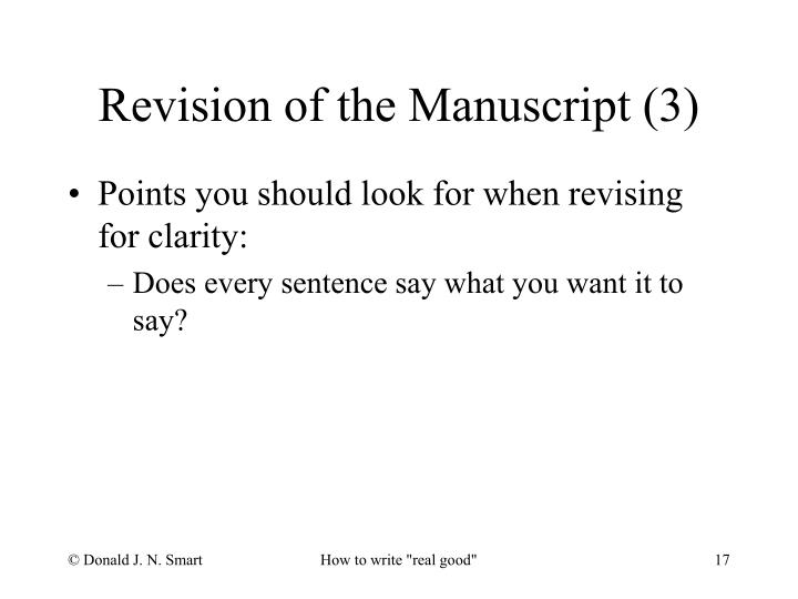Revision of the Manuscript (3)