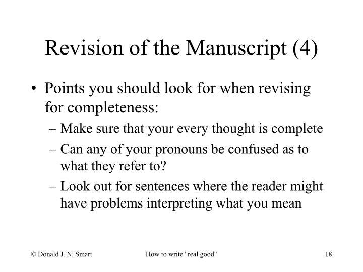 Revision of the Manuscript (4)