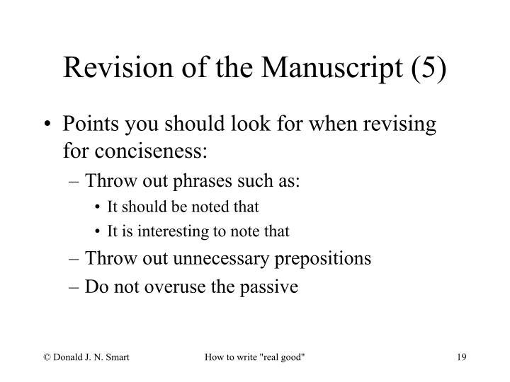 Revision of the Manuscript (5)