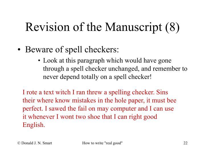 Revision of the Manuscript (8)
