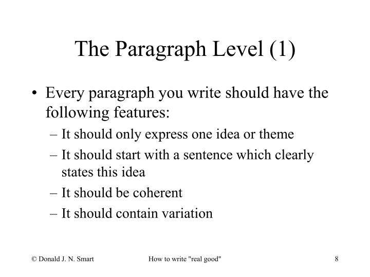 Every paragraph you write should have the following features: