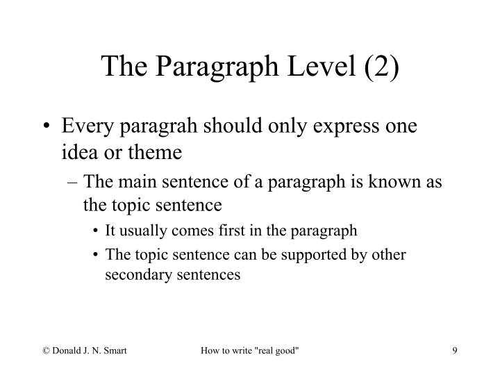 Every paragrah should only express one idea or theme
