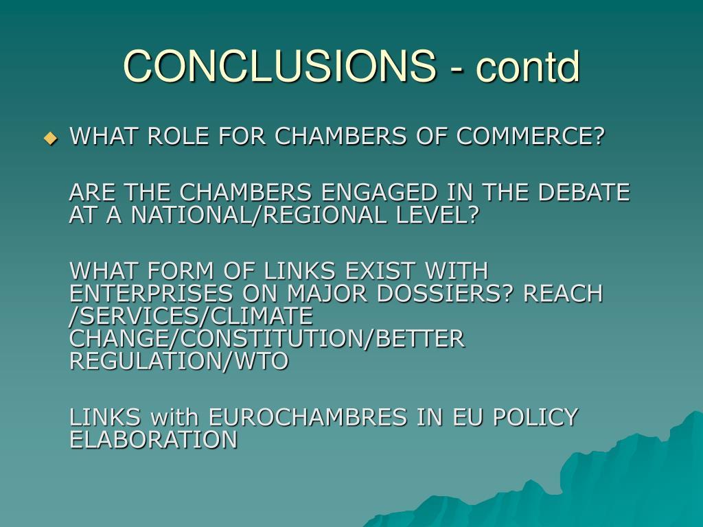CONCLUSIONS - contd