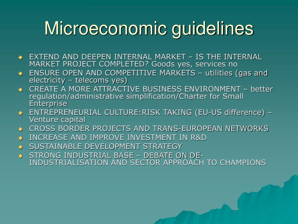 Microeconomic guidelines