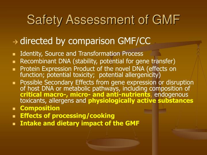 Safety Assessment of GMF