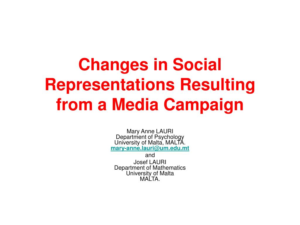changes in social representations resulting from a media campaign l.