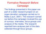 formative research before campaign