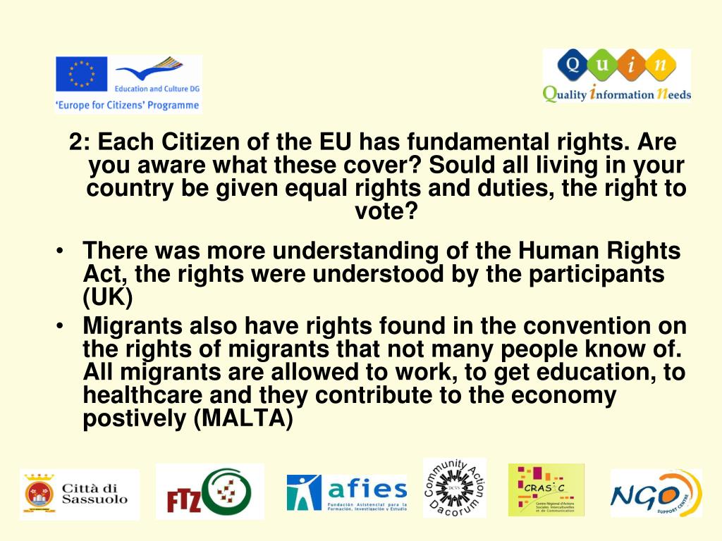 2: Each Citizen of the EU has fundamental rights. Are you aware what these cover? Sould all living in your country be given equal rights and duties, the right to vote?