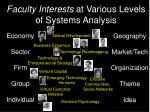 faculty interests at various levels of systems analysis