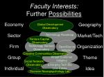 faculty interests further possibilities