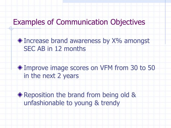 Examples of Communication Objectives