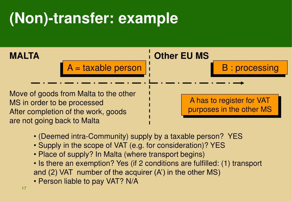 (Non)-transfer: example