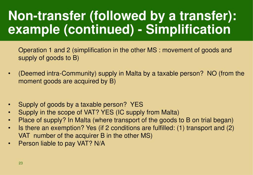 Non-transfer (followed by a transfer): example (continued) - Simplification