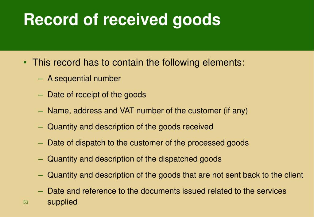 Record of received goods