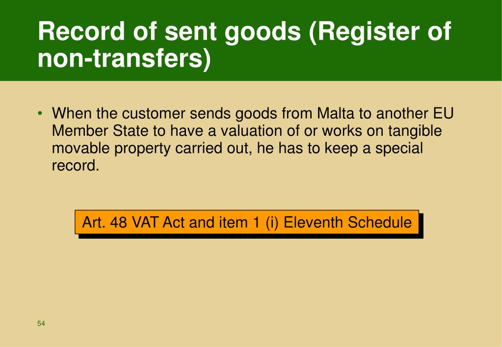 Record of sent goods (Register of non-transfers)