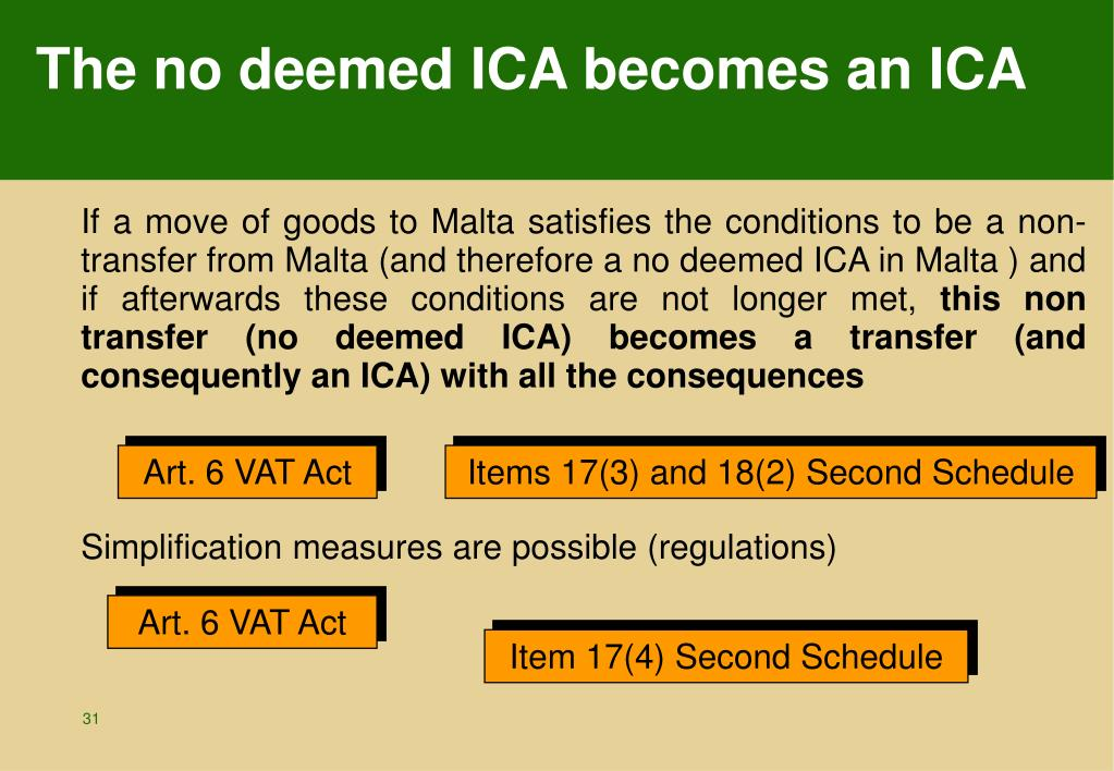 The no deemed ICA becomes an ICA