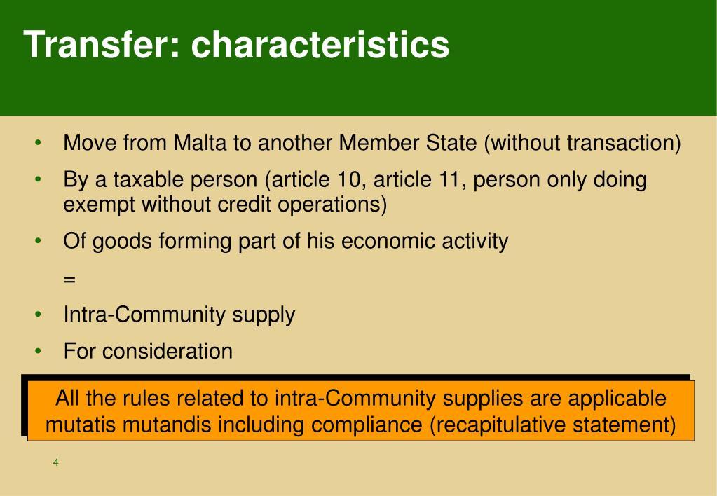 Transfer: characteristics