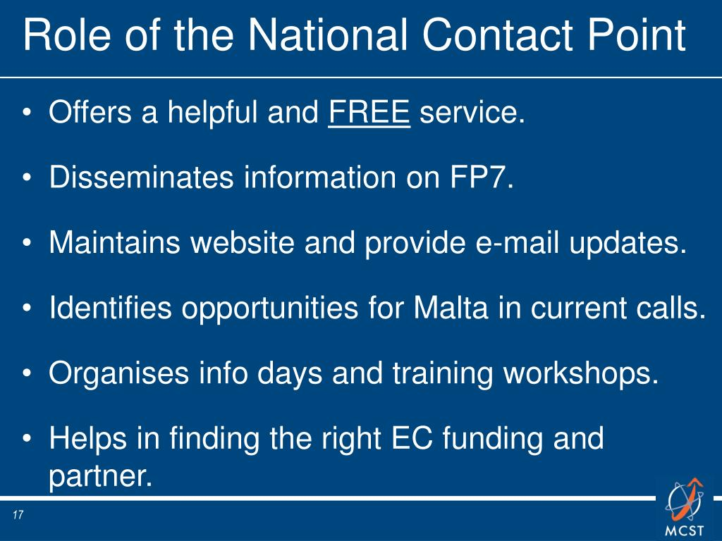 Role of the National Contact Point