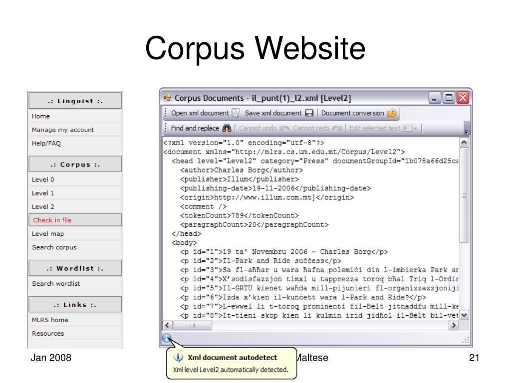 Corpus Website