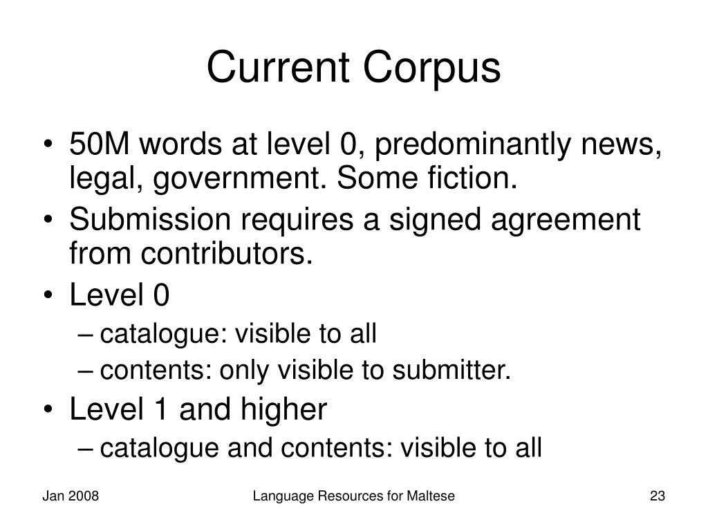 Current Corpus