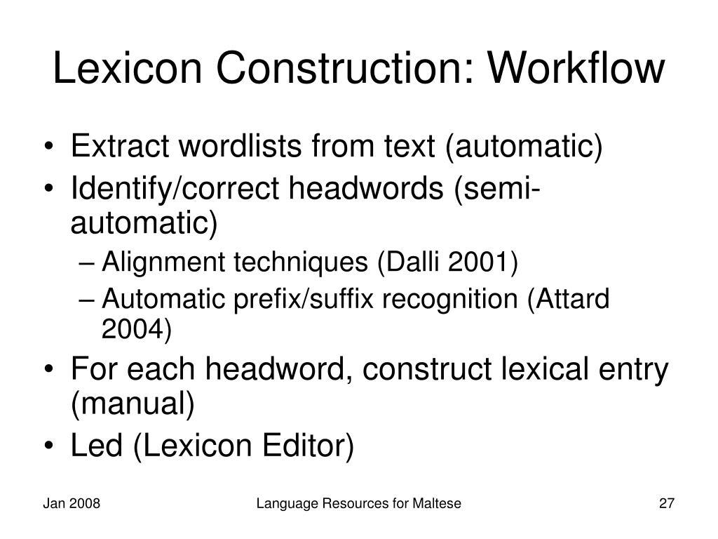Lexicon Construction: Workflow