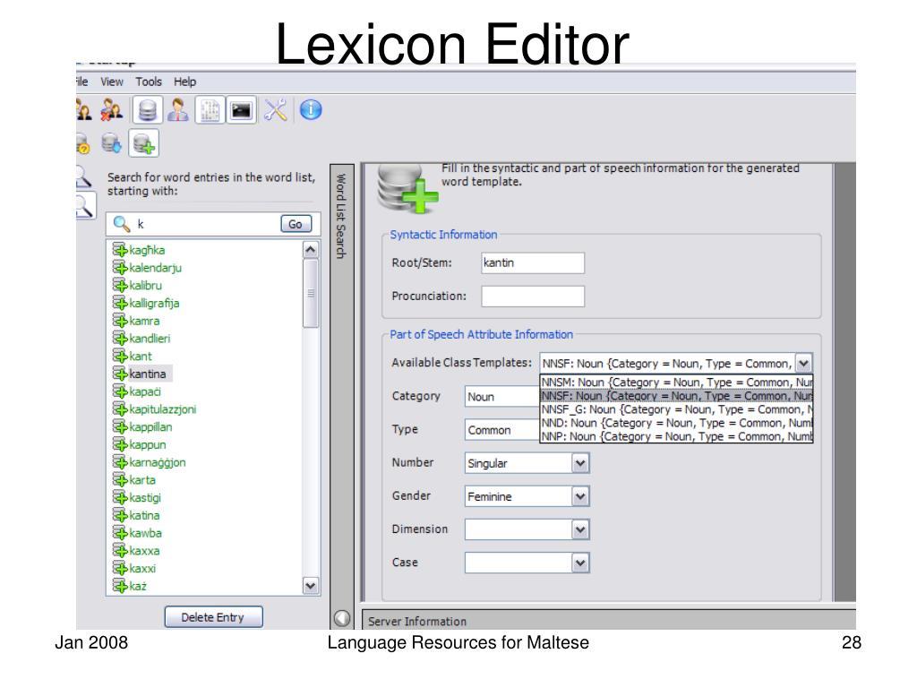 Lexicon Editor