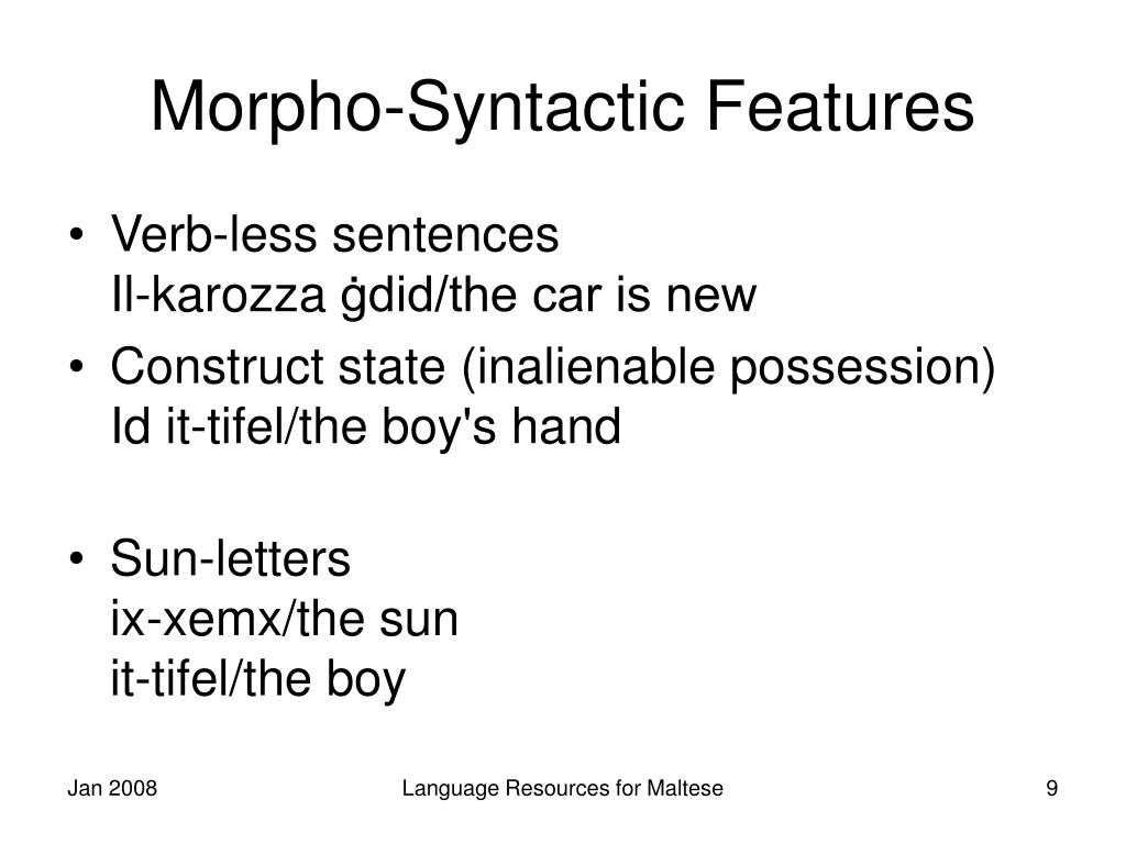 Morpho-Syntactic Features