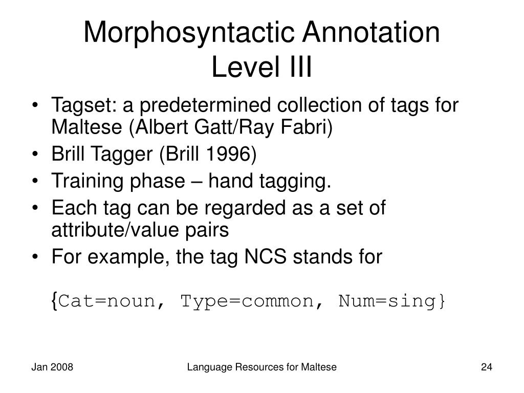 Morphosyntactic Annotation