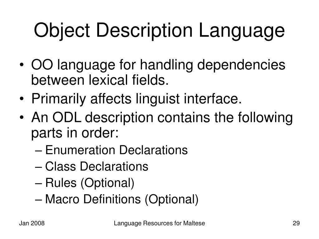 Object Description Language