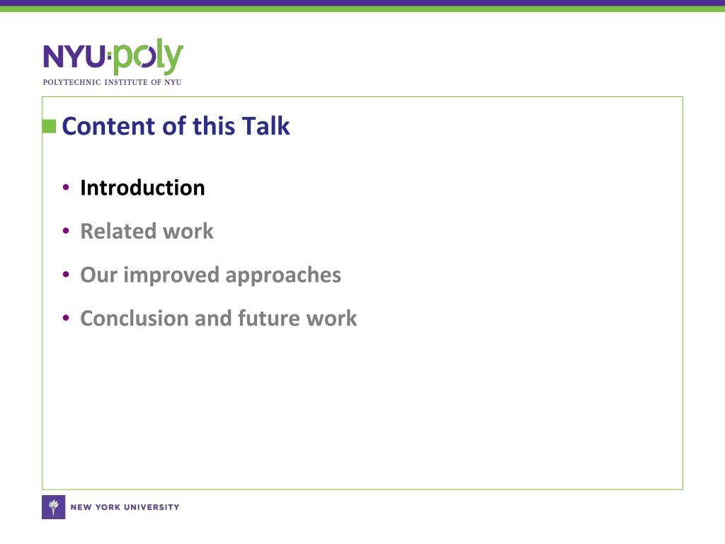 Content of this Talk