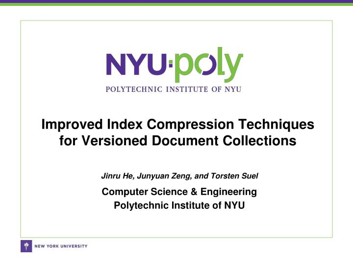 Improved index compression techniques for versioned document collections