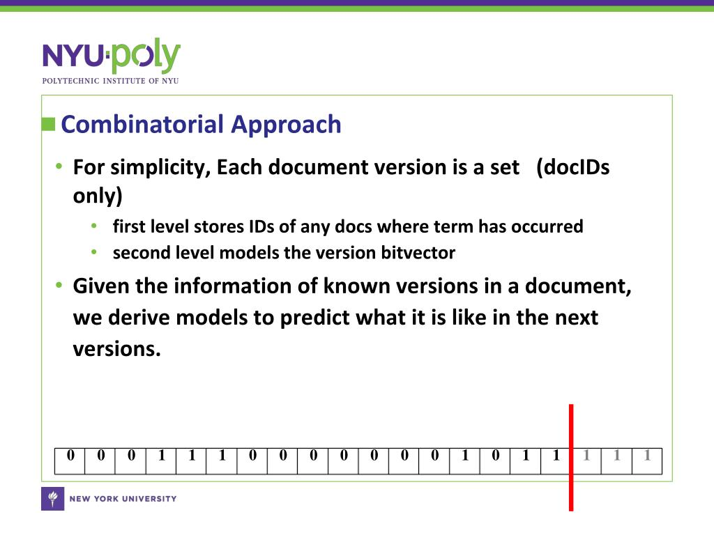 For simplicity, Each document version is a set   (docIDs only)