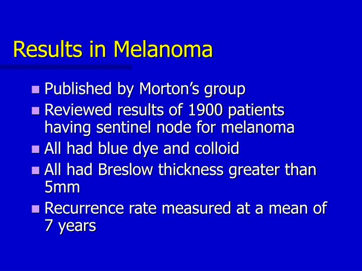 Results in Melanoma
