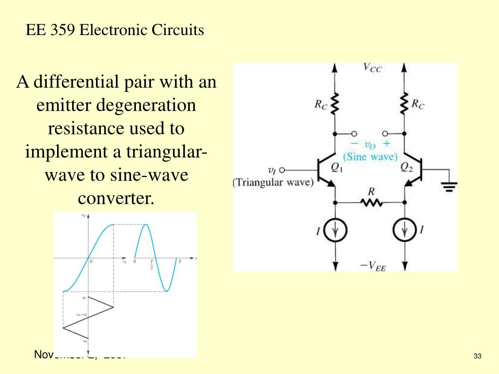 A differential pair with an emitter degeneration resistance used to implement a triangular-wave to sine-wave converter.