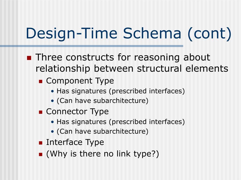 Design-Time Schema (cont)