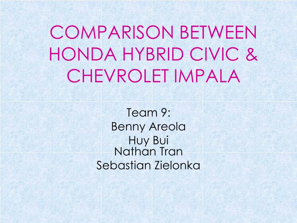 comparison between honda hybrid civic chevrolet impala l.