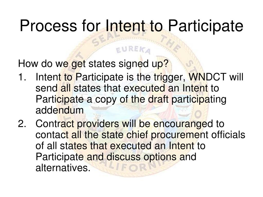 Process for Intent to Participate