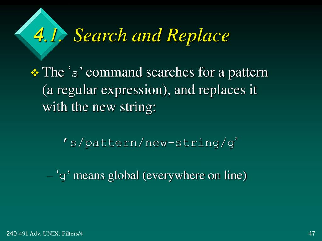 4.1.  Search and Replace