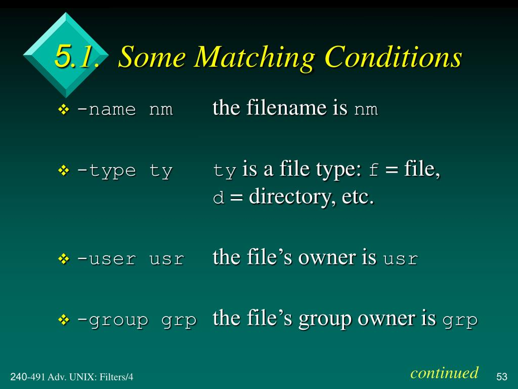 5.1.  Some Matching Conditions
