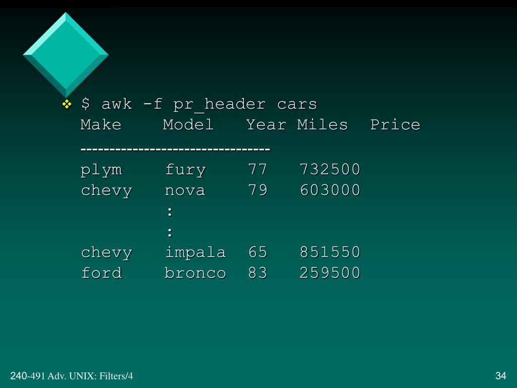$ awk -f pr_header cars
