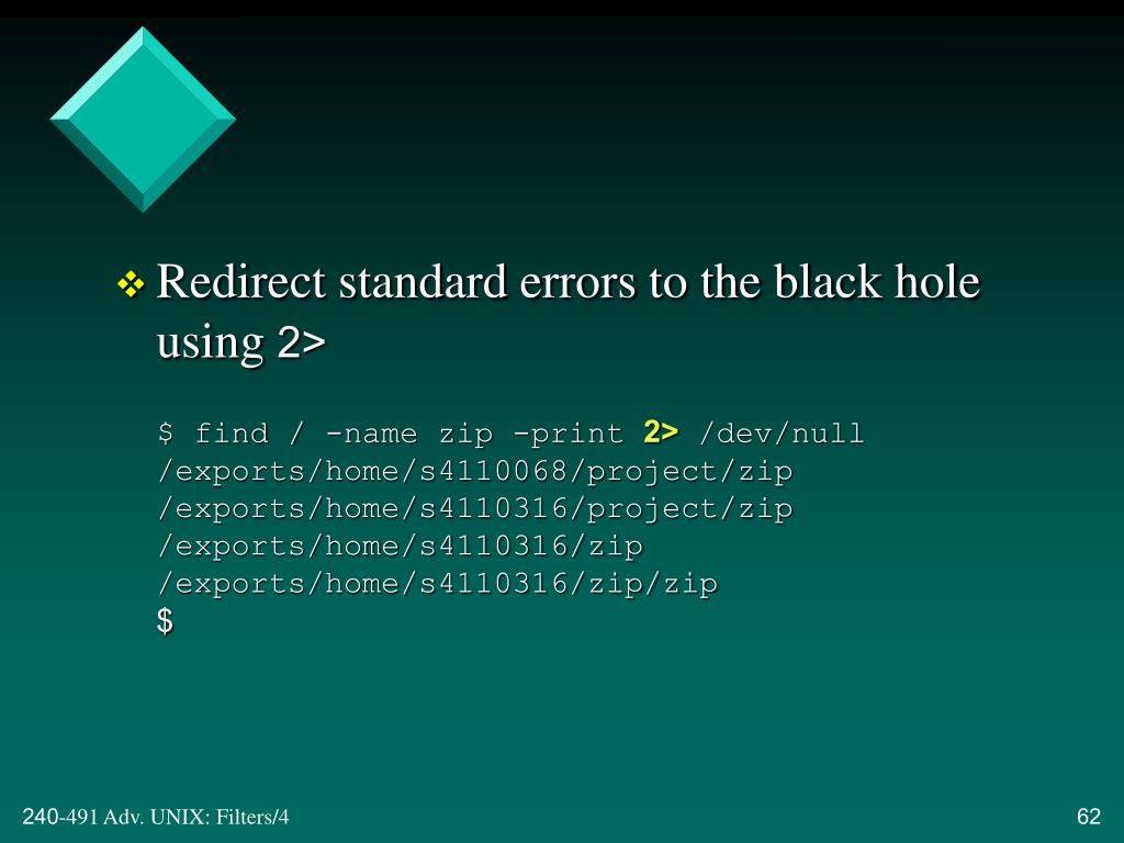 Redirect standard errors to the black hole using