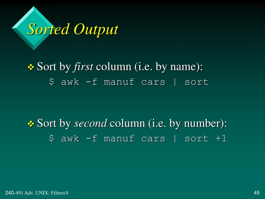 Sorted Output