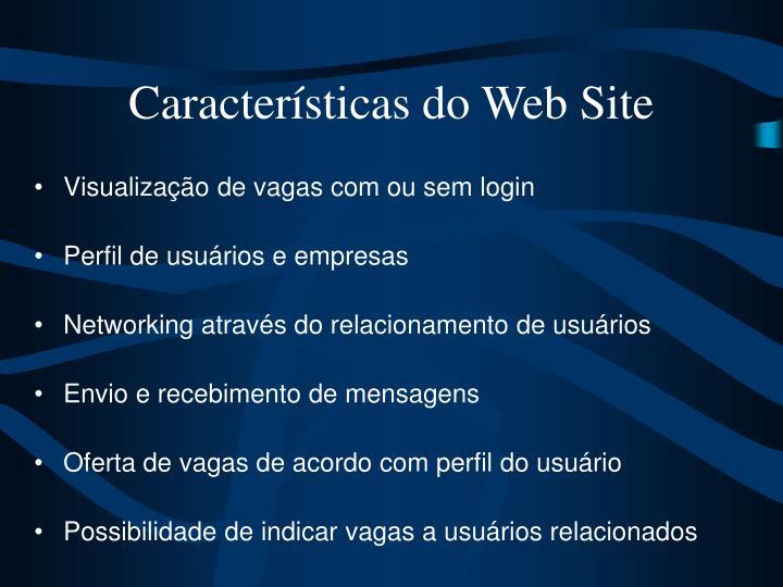 Características do Web Site