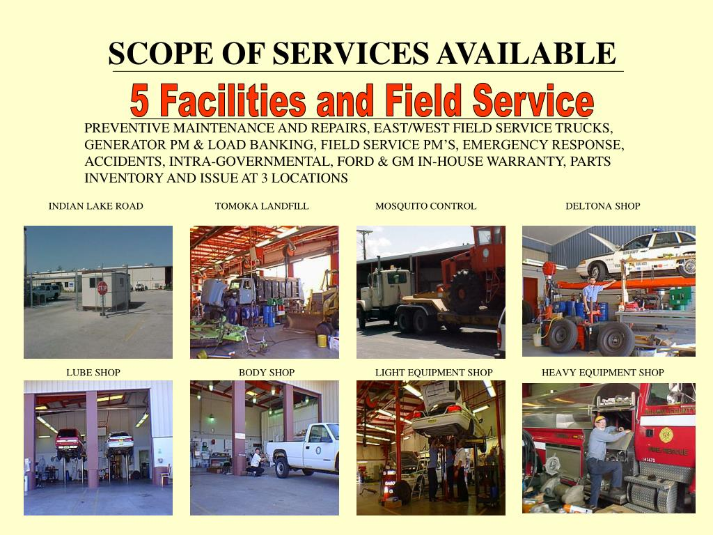 SCOPE OF SERVICES AVAILABLE