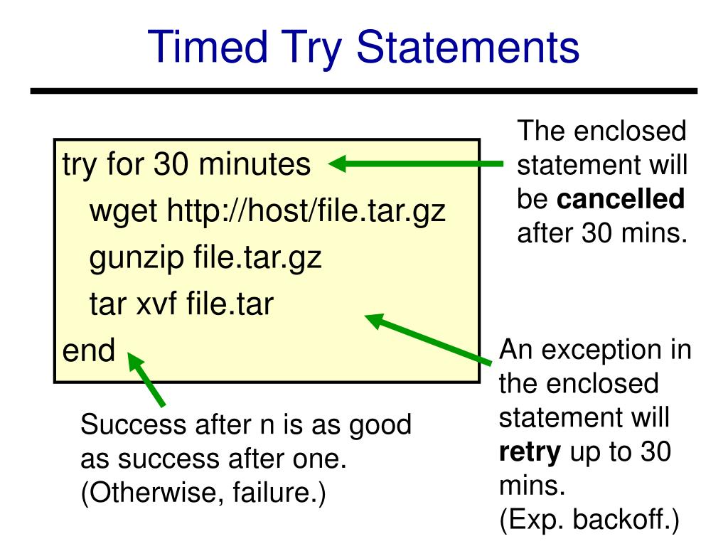Timed Try Statements