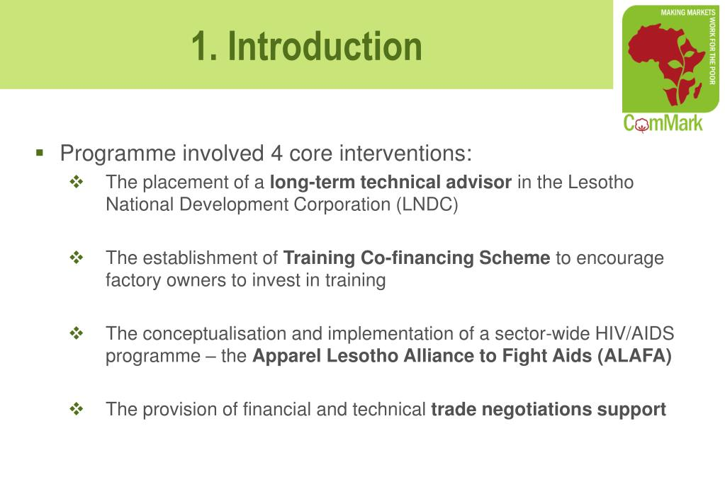 Programme involved 4 core interventions: